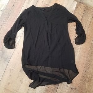 Le Chateau Black Sheer Oversized Top